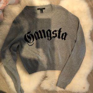 Grey graphic sweater